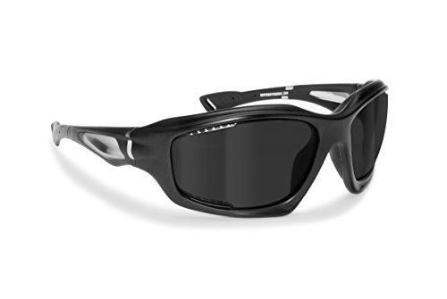 Gafas Deportivas Polarizadas Hidrofóbicas - Envolventes a Prueba de Viento - para Ciclismo Carrera Deporte Acuaticos Esqui Pesca Kitesurf by Bertoni Italy - P1000 (Mat black frame / mat crystal, polarized grey)