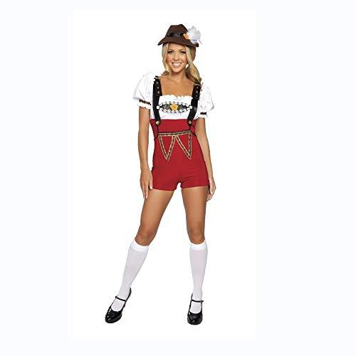 Yunfeng Hexenkostüm Damen Kostüm Halloween Vintage deutsches Bier Festival Kostüm Gurt Shorts Set Bier - Deutsches Bier Festival Kostüm