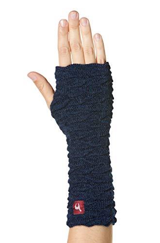 APU KUNTUR Alpaka-Handstulpen BIESEN Baby Alpaka Arm-Stulpe Gelenkwärmer Pulswärmer Damen blau-meliert