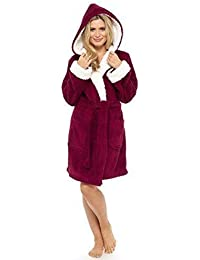 Damas Con Capucha BRILLO Vellón Bata abrigo invierno