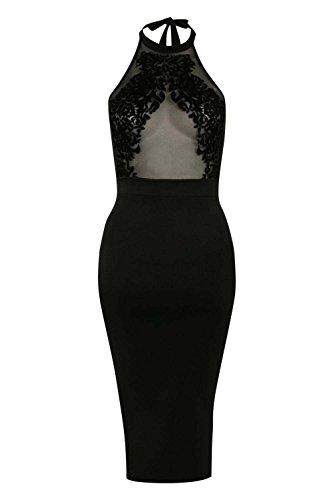 PILOT® maille troupeau détail licol robe col bodycon Noir