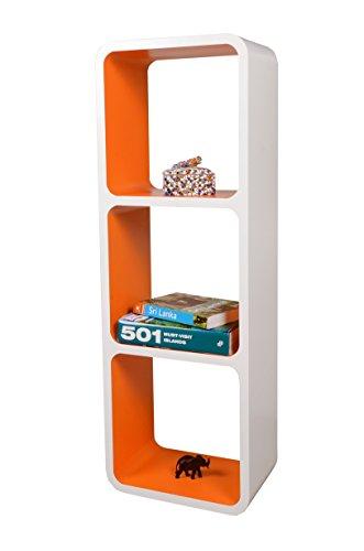 Etagères Design Rétro Mur Bibliothèque Cubes Cube Décoratif étalage Vitrine Blanc & Orange LO13BO