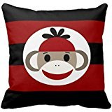 Cool Sock Monkey Beanie Hat Red Black Stripes Throw Pillow Case (Stripe Black Beanie)
