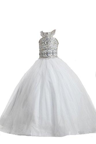PuTao Prinzessin Mädchen Halter Strass bodenlangen Ballkleid Fest Kleider