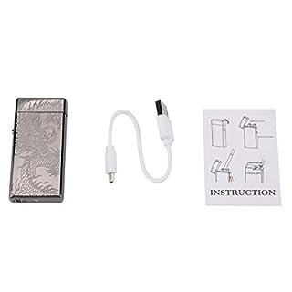 Garosa USB Feuerzeug Wiederaufladbar Winddicht Elektrisch Metall Zigarettenanzünder für Zigarette Kerze Camping(#2)