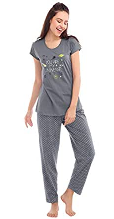 ZEYO Women's Cotton Star Print Night Suit Set