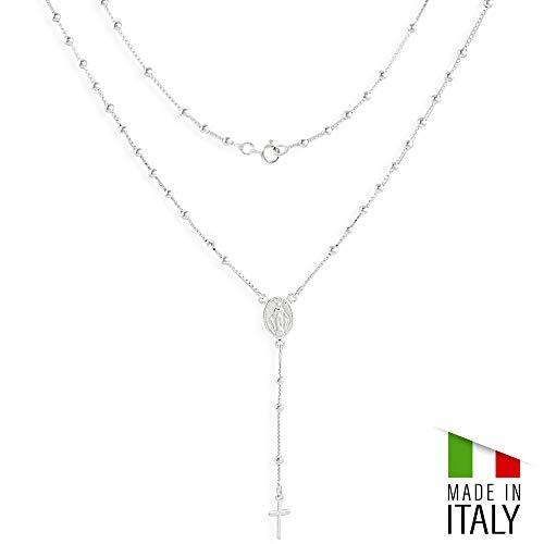 TAIPAN Damen Silberkette 46cm lang Rosenkranz aus 925 Silber Halskette Gebetskette feine Damenkette Religiöser Schmuck inkl. Etui Maria Madonna ()