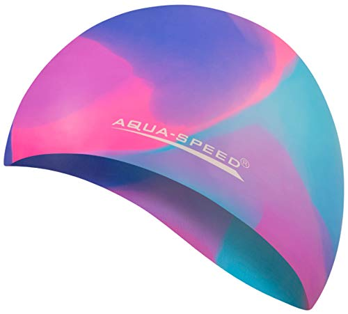 Aqua Speed Badekappe Herren | Silikon | Bademütze | Badehaube | Mehrfarbig + Aufbewahrungstasche Bunt / 45