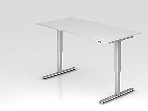 Elektrisch höhenverstellbarer Schreibtisch, 160x80cm, Weiß