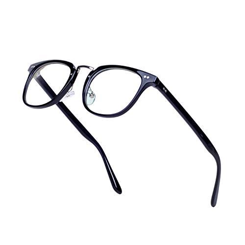 JoXiGo Brillenfassungen Damen Herren Streberbrille Retro Nerd Brille Ohne Stärke Klare Linse mit Etui