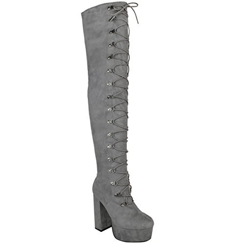 Damen Overknee-Stiefel mit hohem Absatz - hoher Schaft mit Schnür-Detail - Grau Veloursleder-Imitat - EUR 37 (Veloursleder-wedge-stiefel)