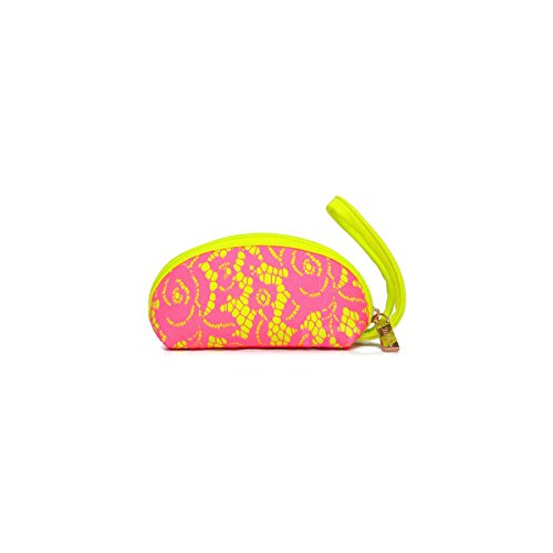 Trousse maquillage Pochette zippée fluo jaune dentelle rose