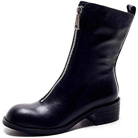 Yinglunmading stivali In cuoio grezzo Ladies inverno Zip frontale in pelle alla caviglia , black , 38