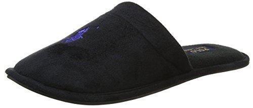 Microsuede Schuhe (Ralph Lauren Herren Men's Sunday Scuff Niedrige Hausschuhe, Schwarz (Black Microsuede W Royal Pp), 42 EU)