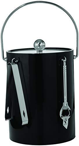 Mr. Ice Bucket By Stephanie Imports Isolierter 5-Viertel-Doppelwand-Eiswürfel mit Eiszange und Flaschenöffner Schwarz -