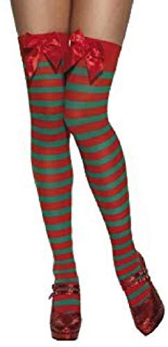 Fancy Me Damen Rote Weiß Grün Gestreift Weihnachten Sexy Miss Mrs Weihnachtself Kostüm Strümpfe Socken - Grün/Rot Gestreift, One - Rot Und Grün Elfe Kostüm