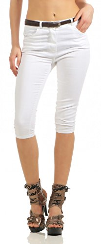 Damen Capri Jeans Capri-Hose Bermuda Kurze Hose inkl. Gürtel (570), Grösse:42 XL, - Capri-jeans Weiße