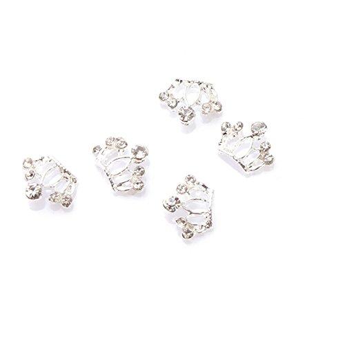 5Pcs Kit Décoration Nail Art Couronne Guipure3D Manucure Incrusté de Cristal Bijoux DIY Ongle Argent RAIN QUEEN