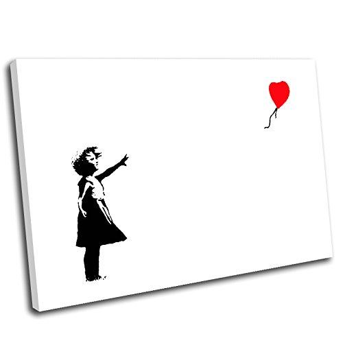 Canvas Culture, Motiv Mädchen mit Ballon von Banksy, Kunstdruck auf Leinwand, Bild mit Rahmen 120 x 80 cm rot