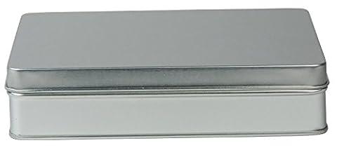 mikken Boîte/pâtisseries/Praline Boîte/tabac boîte avec couvercle à charnière, métal, argent, 15,6x 12x3,5cm
