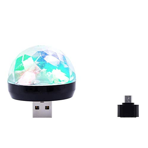 Webla Sound Control Stadion Led Licht Handy Mini Crystal Magic Ball Kleine Lichtsteuerung Bunte Sprachsteuerung Mit Adapter Usb Rgb Disco Bühne Licht Party Club Dj Ktv Weihnachten Phone Lamp (Schwarz)