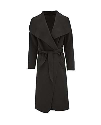 Janisramone donne celebrità cascata drappo con cintura moda giacca abaya manica lunga sciarpa Lungo nero