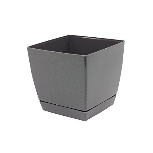 Pot de fleur glossy graphite carré 13 cm plastique Coubi,soucoupe amovilbe