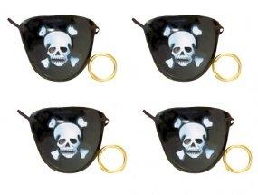 4 Piraten-Augenklappen und Ohrringe