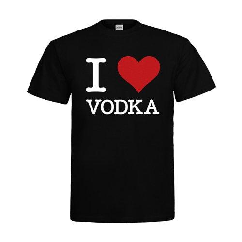 MDMA T-Shirt I Love Vodka mdma-t00169-10 Textil black / Motiv weiss Gr. (Design Studium Kostüm Online)
