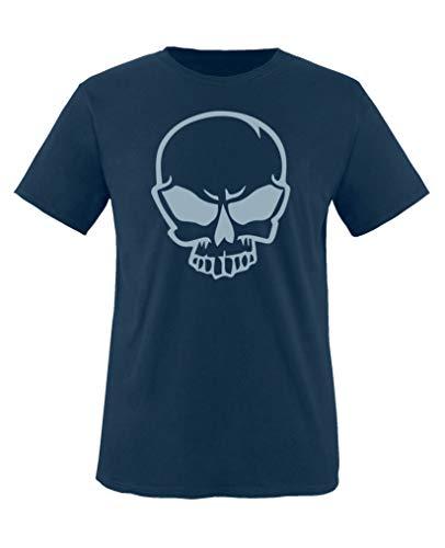 Comedy Shirts - Halloween Schaedel - Jungen T-Shirt - Navy/Eisblau Gr. 110-116