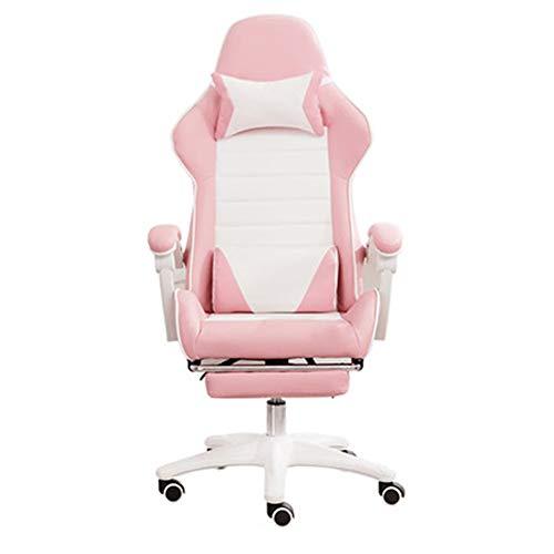 Stühle XUERUI Schwenken Gaming Rennen Büro Hoch Zurück Computer Schreibtisch PU Leder Executive Und Ergonomisch Mit Kopfstütze Lendenwirbel Unterstützung Essstühle Möbel (Farbe : Pink+White) -
