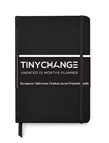 TinyChange Planner: Undated A5 Daily Weekly Journal for 15 Months to Achieve Goals, Stay Productive and Live Happier with 2 Sticker Sheets, Bookmarks, Thank You Cards, Re-usable Sleeve Cover