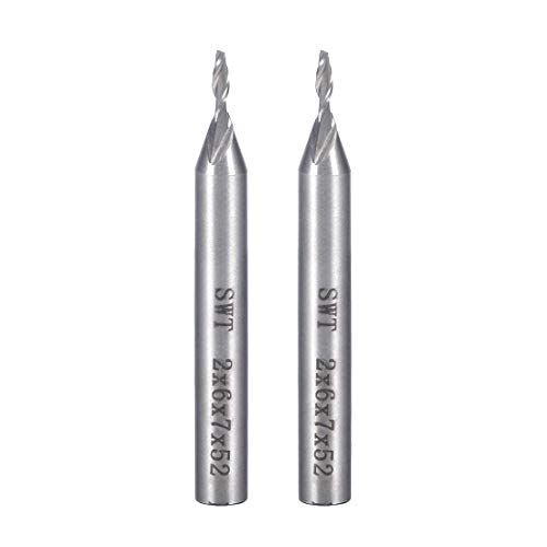 ZCHXD 2Pcs 6mm Shank 2mm x 7mm Straight Flat Nose End Mill Cutter CNC Router Bits 2 Flute -