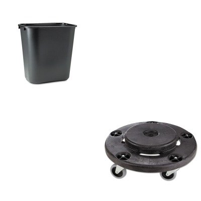 KITRCP264000BKRCP295600BK Gummid-Black Twist On/Off Round Dolly (RCP264000BK) und Rubbermaid-Black Soft Molded Plastic Abfalleimer, 28 1/8 Quart (RCP295600BK)