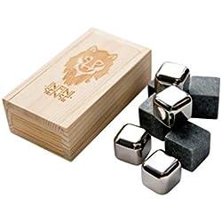 INFINISENSE® Box mit 8 Eiswürfeln für Whisky (4 in Speckstein und 4 in Edelstahl) - Holzbox - Wiederverwendbare Eiswürfel - Weihnachtsgeschenkidee Original - Whisky, Wein, Bier, Cocktails, Granit