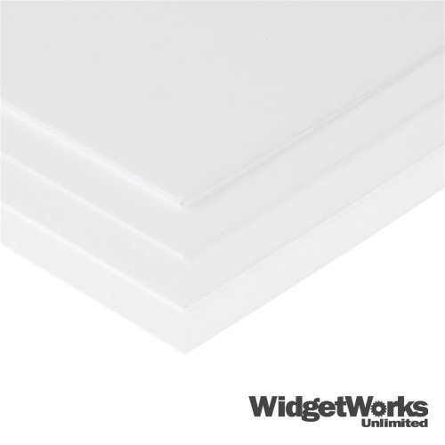 WHITE Styrene Thermoform Plastic Sheets 1/32 x 24 x 24 Sheets - 4 Piece Bundle by WidgetWorks Unlimited LLC.