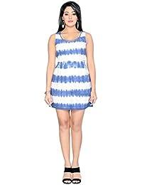 THINC LIGHT BLUE TIE AND DYE BEAUTIFULL LACE SHORT DRESS