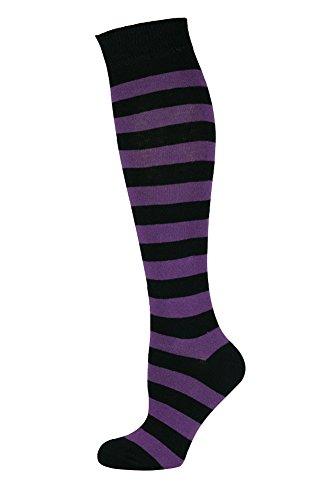 ohe lange Socken Streifen Lila Schwarz ()