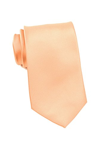 PUCCINI Schmale Krawatte, einfarbig, verschiedene Farben, Mikrofaser, Satinglanz, Handarbeit, 6 cm Slim Tie, Büro - Hochzeit - Alltag (Lachsfarben)