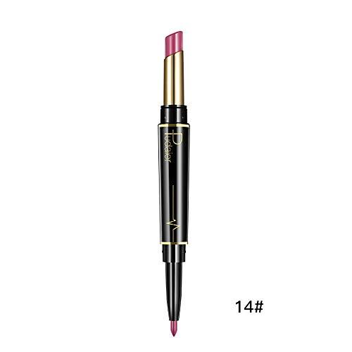 Innerternet Set De CosméTiques De Maquillage De Longue DuréE ImperméAble Crayon-Crayon à LèVres éTanche Double Boutonnage Lipliner ImperméAble 16 Couleurs (N)