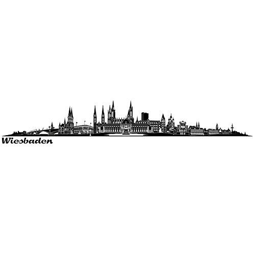 Wandkings Skyline - Deine Stadt wählbar - Wiesbaden - 125 x 18 cm - Wandaufkleber Wandsticker Wandtattoo