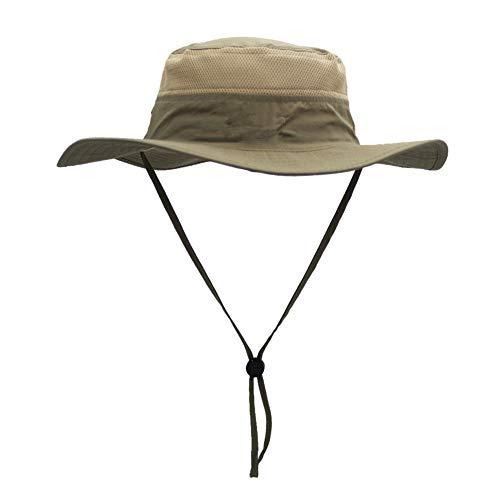 Homeofying Outdoor Angeln Sonnenschutz Atmungsaktives Mesh Wide Brim Bucket Hat Boonie Cap Für Frauen Männer Dunkles Khaki -