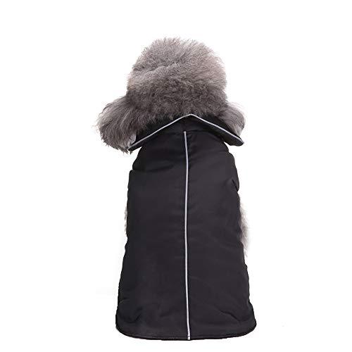 (Fenverk_Haustier Hund Reversibel GemüTlich Mantel Winter Warm Jacke Winddicht Kleider Britisch Stil Weste Gepolstert Bekleidung KleidungsstüCk Zum Mittel Groß Hunde Katze HüNdchen KostüM(Schwarz,2XL))