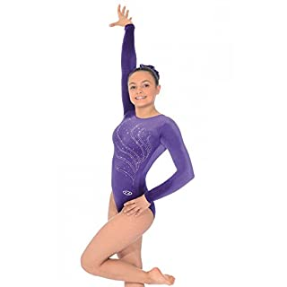 Tiara Crystal Motif Long Sleeved Gymnastics Leotard 30 Grape