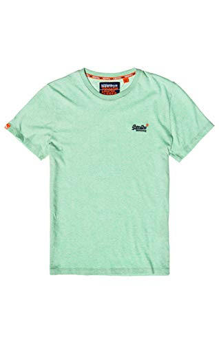 Superdry Herren ORANGE Label Vintage Embroidery S/S Tee T-Shirt Türkis (Spearmint Marl Dcr) Large (Herstellergröße: L)