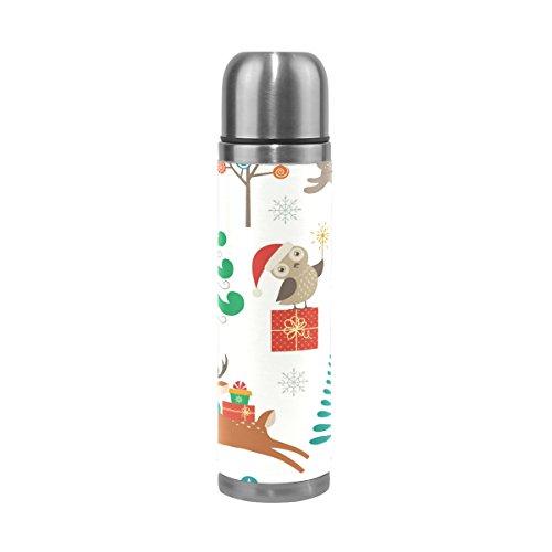 Ahomy Edelstahl-Thermosflasche Cartoon Weihnachts-Eule Baum-Dekoration Vakuum-Isolierte Flasche auslaufsicher Reisebecher 500 ml