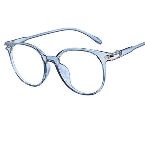 REALIKE Unisex Brille Elegant Flacher Spiegel Runder Rahmen Brillengestell Brille Anti-Blaulichtbrille, Retro-Brillengestell Aus, (Farbe : Blau, Schwarz, Lila, Rosa, ()