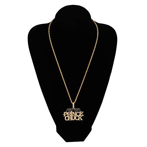 Qiulv Männer Anhänger, Brief Prince Hiphop Anhänger Iced Out Schwarze Brille Anhänger 18K Vergoldung Kette Halskette Inlay Zirkon Schmuck Zubehör Zum Geburtstag Valentine Geschenk