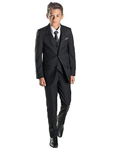 Paisley of London Schwarzer Anzug für Jungen Gr. 6 Jahre, schwarz (Satin Weste Tuxedo Weiß Formale)