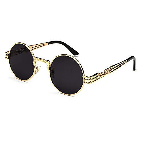CVOO Retro Sonnenbrille,Steampunk Stil, runder Metallrahmen,für Frauen und Männer (black Gold)